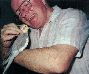 Ian and Jimmy, the cockatiel, circa 1999.