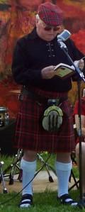 Ian at book reading in McKinnon kilt