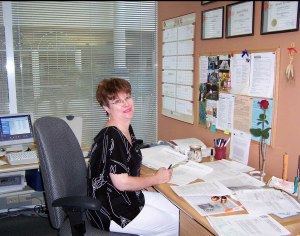 Gayle-Editing at Esprit Magazine, Winnipeg-2004