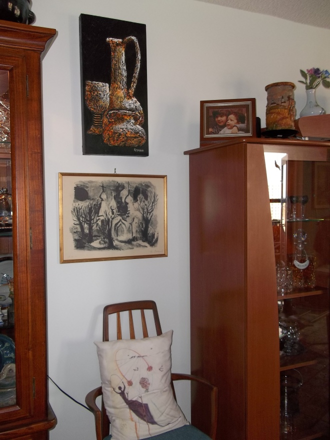 Dining Room-Artwork - Oil, Lithograph, Silkscreen, etched candles, crystal stemware and decanters