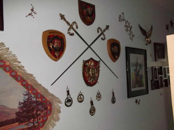 Hallway-Scottish Swords and Shields plus Horses' Brasses