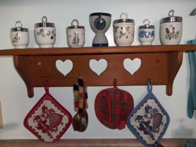 Kitchen-Egg Coddlers, Swedish shelf, Austrian and Scottish pot holders, cow bell